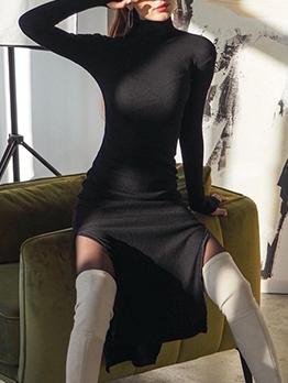 Turtle Neck Solid Color Slit Midi Dress