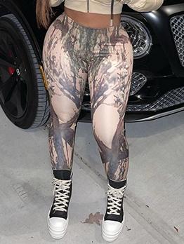 Casual High Waist Printing Legging