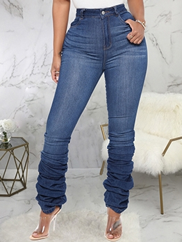 Versatile Solid Stacked Women Jeans