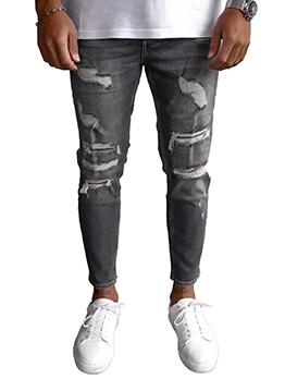 Street Black Ripped Jeans Men Autumn