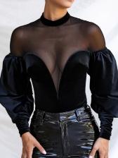 Mesh Patch Lantern Sleeve Velvet Bodysuit