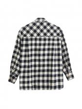 Pockets Black And White Plaid Women Shirts
