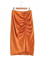 Drawstring High Waist Satin Midi Skirt