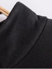 Plus Size Stand Neck Black Zipper Up Jacket