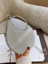 Elegant Round Handle Rhinestone Evening Bag