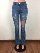 Split Hem Pencil Ripped Jeans For Women