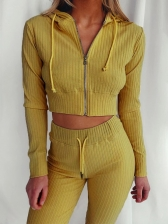 Solid Hooded Zipper Up Ladies Tracksuits