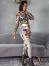 Mock Neck Printed Two Piece Pants Set