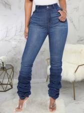 Versatile Solid Stacked Women Jeans