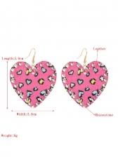Trendy Heart Shape Pu Leather Long Earrings