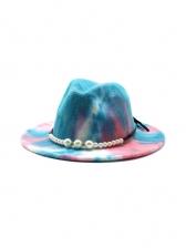 Fashion Faux-Pearl Design Tie Dye Fedora Hat