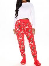 Christmas Print Long Pants Women House