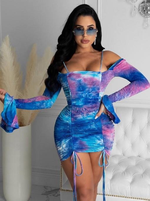 Pleated Printing Long Sleeve Bodycon Dress