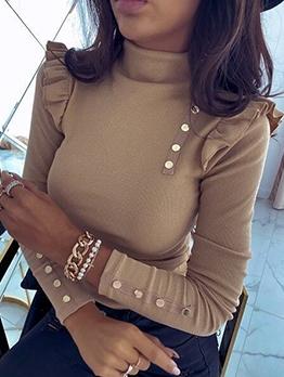 Stylish Stringy Selvedge Button Decor Pullover Sweater