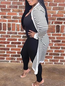 Casual Long Sleeve Ladies Striped Cardigan