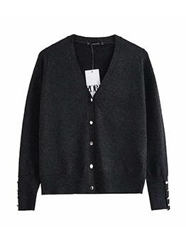 Casual V Neck Black Cardigan Sweater