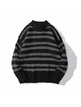 Vintage Easy Match Mock Neck Men Winter Sweater