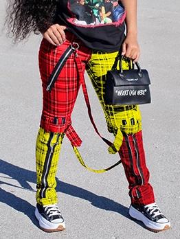 Streetwear Zipper Design Color Block Plaid Pants