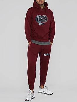 Fleece Long Sleeve Hoodie With Jogger Pants Printing