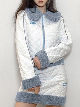 Winter Fleece Patchwork Two Piece Skirt Set