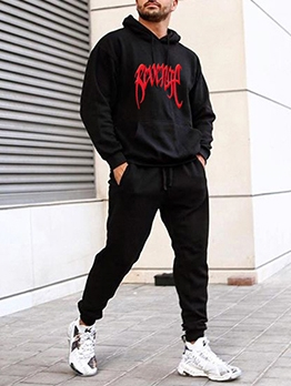 Fashion Letter Print Mens Activewear Long Sleeve
