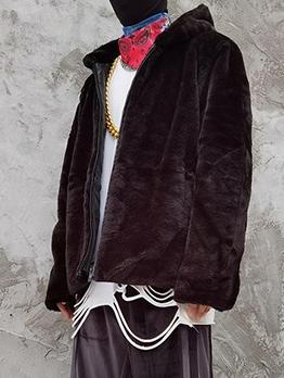 Plush Winter Pure Color East Matching Men Coat