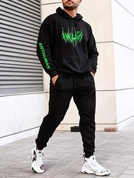 Hip Hop Style Black Two Piece Hoodie Set Printing