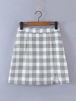 Houndstooth Slit High Waisted Pencil Skirt