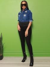 Star Print Pockets Crop Denim Jacket