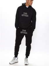 Two Official Letter Print Hoodies With Long Jogger Pants