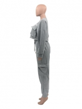 Sporty Embroidery Solid Color Pockets Womens Sweatsuit