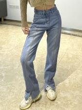 Vintage High Waist Split Hem Straight Jeans