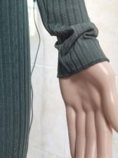 V Neck Knitting Cropped Two Piece Pants Set