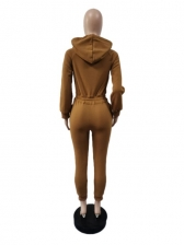 Thickened Hooded Collar Long Sleeve Jumpsuit