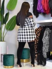 High Neck Zipper Plaid Patchwork Long Sleeve Dress