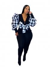 Plaid Patchwork Bow Decor Plus Size Blouse