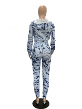Casual Printed Hooded Collar Womens Tracksuits