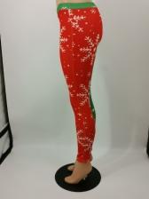Christmas Plus Size Contrast Color Printed Leggings