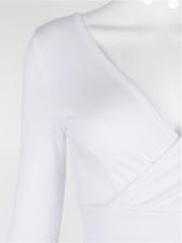 V Neck Bow Tie Long Sleeve Blouse
