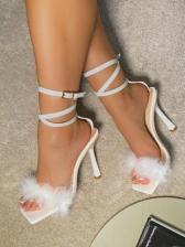 Square Neck Faux Fur High Heel Ladies Sandal