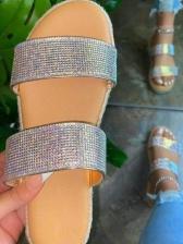 Summer Rhinestone Round Toe Ladies Slippers