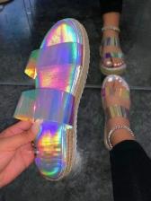 Stylish Round Open Toe Slides Slippers