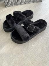 Euro Platform Faux Fur Slip On Slippers
