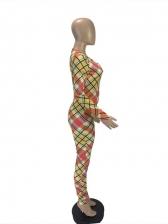 Skinny Color Block Plaid Long Sleeve Jumpsuit