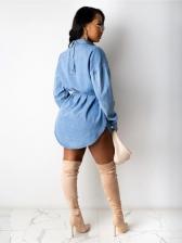 Pockets Button Down Long Sleeve Denim Dress