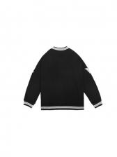 Letter Fashion Plush Baseball Uniform Sweatshirt For Men