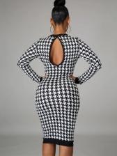 Autumn Houndstooth Long Sleeve Maxi Dress