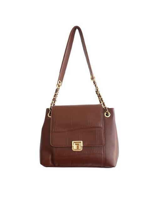Simple Stone Pattern Pu Shoulder Bags