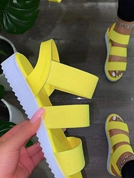 Summer Solid Round Toe Womens Sandals