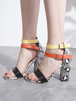 Euro Snake Skin Printed Chunky Heel Womens Sandals